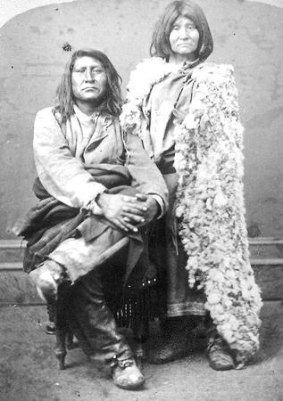 Shoshone chief Sagwitch (1822-1887) and his last wife, Beawoachee