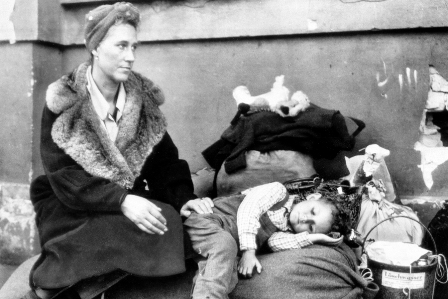 Women and child on the Berlin railway station in October 1945