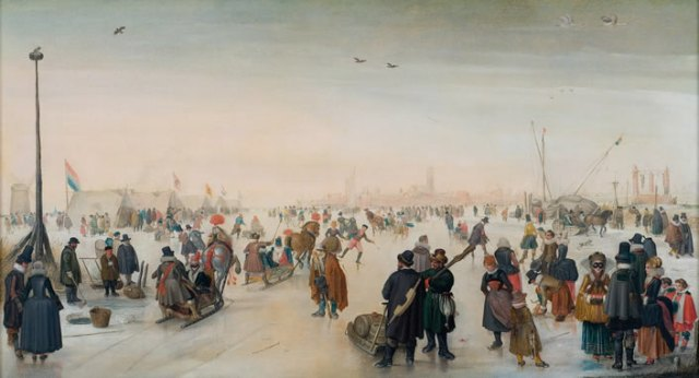 """Skaters and Tents along the Ice"" by Hendrick Avercamp"