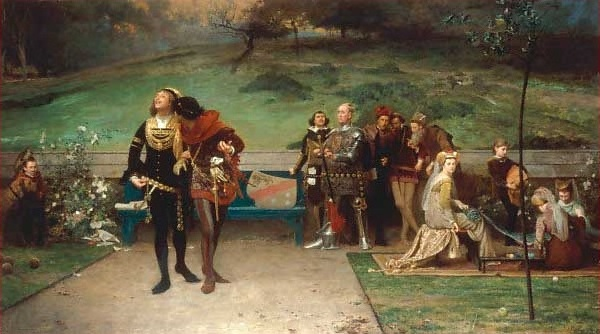 An 1872 painting by English artist Marcus Stone shows Edward II cavorting with Gaveston while nobles and courtiers look on with concern