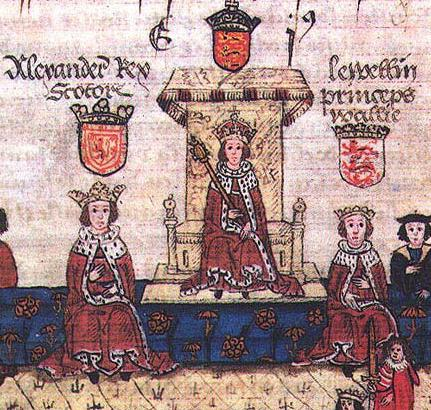 In this medieval manuscript Edward I (center) is flanked by King Alexander of Scotland (left) and Prince Llywelyn ap Gruffudd of Wales (right)