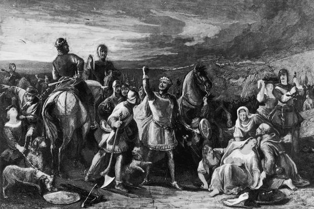 Robert the Bruce with a group of women and priests, probably after the Battle of Bannockburn