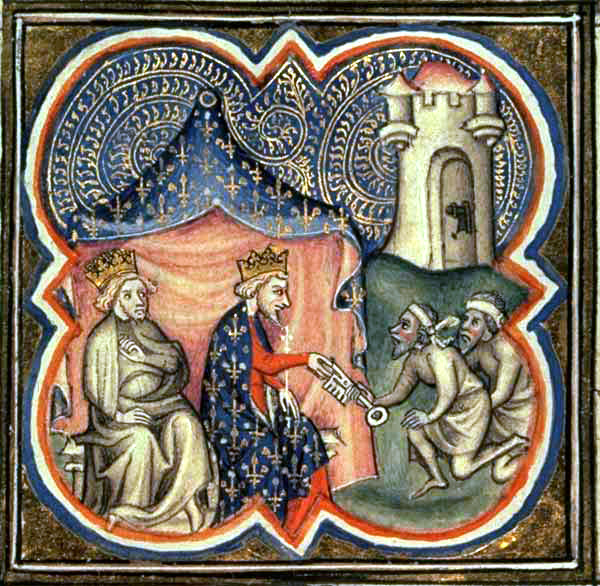 Philip II of France and King Richard of England receive the key of  Acre