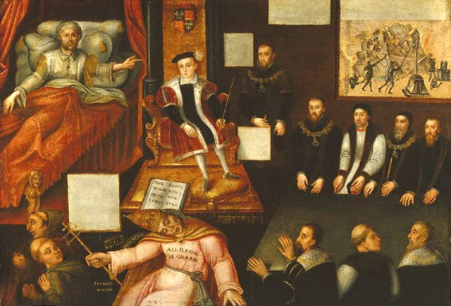 King Edward VI and the Pope by an unknown artist