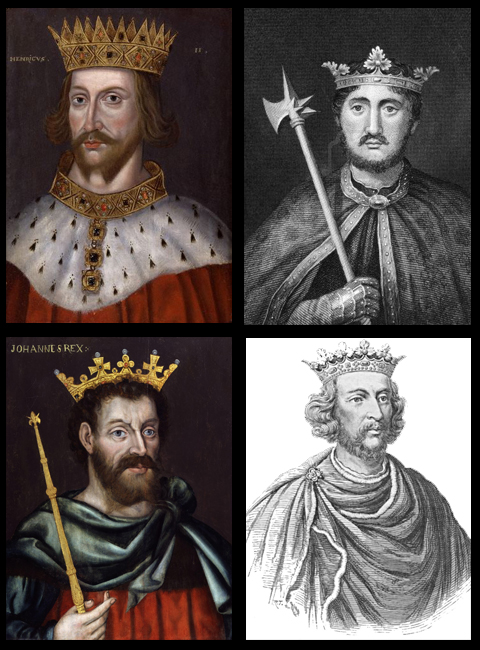 Four kings that ruled England during William Marshal's life: Henry II (top l.), Richard (top r.), John (bottom l.) and Henry III (bottom r.)