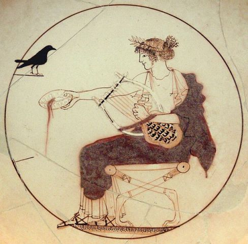 Apollo with a black bird, ancient Greek pottery