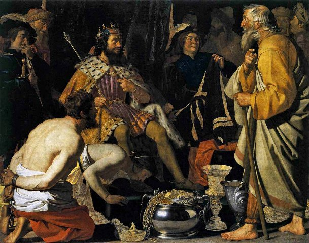 Solon comes before Croesus Painting by Gerard van Honthorst