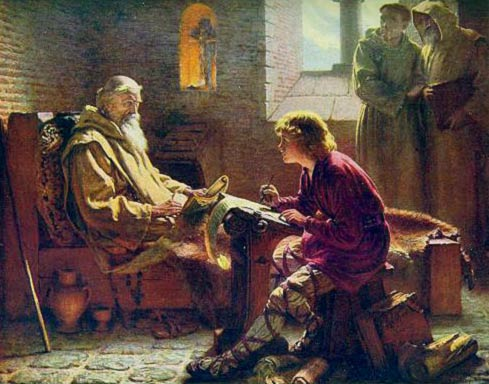 Bede on his deathbed completing his translation of St John's Gospel to the young scribe Wilburt (Wilbur), 1902 by James Doyle Penrose