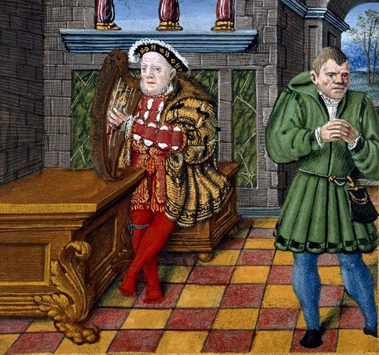 Henry VIII playing the harp