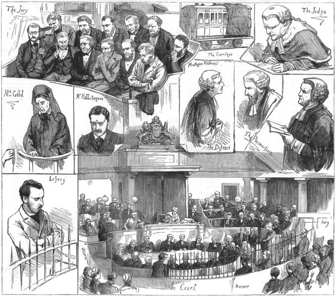 Trial of Percy Lefroy Mapleton, old print, 1881