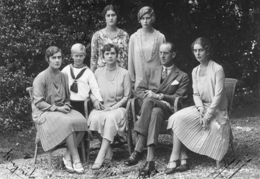 Prince Andrew of Greece and Denmark with family