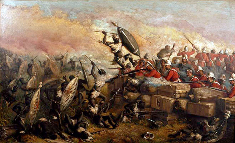 Oil painting by artist W H Dugan depicting the Siege of Rorke's Drift, Natal in January 1879. The first painting depicting Anglo-Zulu war to be placed on public display in 1880