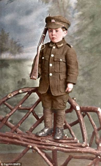 young Rowland Hill poses for a photograph in 1914 - such pictures were common at the outbreak of the war when patriotism and national fervour swept the country.